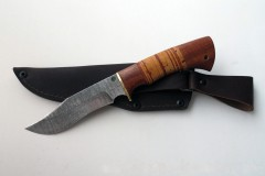 Нож Лис дамасск малый береста (МАИ)
