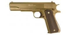 Пистолет софтэйр Galaxy G.13GD пружинный,золотистый, клб.: 6 мм. (Colt 1911)